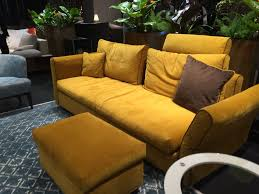 Modern Yellow Sofa Living Room Yellow Sofa And Attoman Geometric Pattern Rug Chic