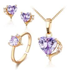 purple gold necklace images Cute gold color lavendar purple aaa cz heart cz ring pendant jpg