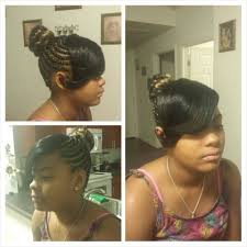 natural hair bun styles with bang cornrows into bun with bangs sewn my work pinterest