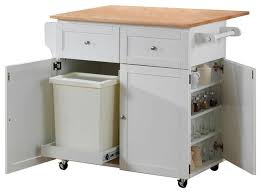 kitchen cart with leaf trash compartment and spice rack