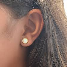 white opal earrings white opal stud earrings opal earrings 14k gold filled or sterling