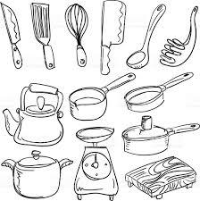 kitchen utensils in sketch style stock vector art 165764994 istock