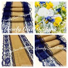 Navy Blue Lace Table Runner Navy Blue Burlap Lace Table Runner 4ft 10ft X13in Wide Wedding