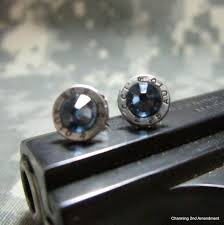 bullet stud earrings 25 caliber denim blue silver bullet stud earrings