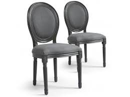 chaises medaillon de 2 chaises médaillon tissu gris eugene 96 cm