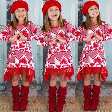 valentines dress sleeve valentines day heart printed fringe hem dress
