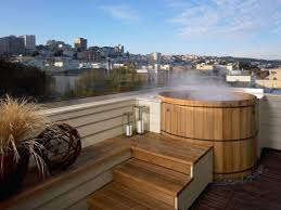 Contemporary Backyard Landscaping Ideas by Outdoor Living Outdoor Round Jacuzzi Tubs With Wood Seat