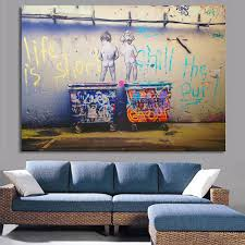 aliexpress com buy life is short banksy canvas painting wall