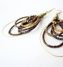 hoop beaded earrings hoop earrings bronze bead earrings gold crystals