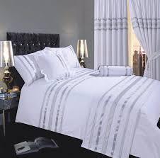 white silver colour stylish modern sequin duvet quilt cover set