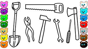 tool coloring pages learning colors for kids with building tools