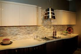 Ceramic Tile With Glass Backsplash Imposing Warm Lighting Can Add Touch Inside Minimalist House Design