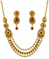 gold antique necklace sets images 22k layered antique necklace set ajns60045 22k gold antique jpg
