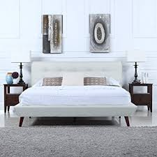 amazon com mid century ivory linen low profile platform bed frame