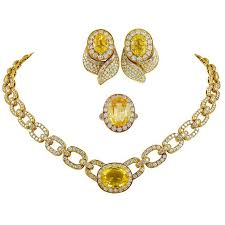 yellow sapphire necklace images Van cleef and arpels diamond yellow sapphire necklace suite for jpg