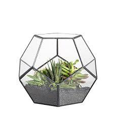 handmade pentagon ball shape open glass geometric terrarium