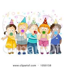 party horns royalty free rf clip illustration of a of kids blowing