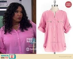 calvin klein blouses wornontv yolanda s pink zip pocket blouse on and hungry