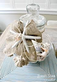 darling beach memory jar with a burlap ribbon beach crafts