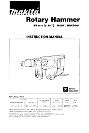 makita power hammer hr4500c user guide manualsonline com