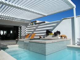 patio ideas louevered patio cover with inground swimming pool and