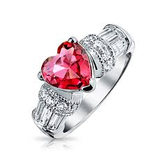 heart ring milgrain 925 silver simulated ruby cz heart engagement ring