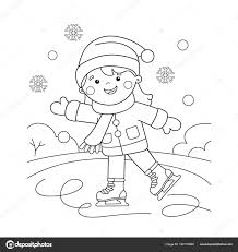 Coloriage Page Aperçu du dessin animé fille patinage Sports dhiver