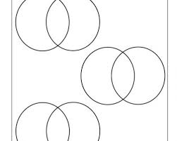 three small venns with two circles graphic organizer worksheet