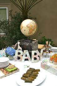 around the world baby shower theme ideas decorations letters made
