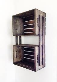 sale brown wooden crate wall hanging shelving unit by cldecor