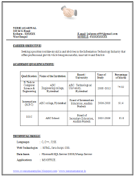 Sample Template For Resume Example Template Of Excellent Fresher B Tech Resume Sample