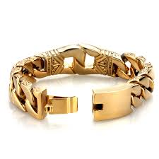 bracelet gold mens images Trustylan 18mm wide gold color bracelet mens bracelets brand new jpg