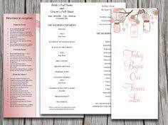 dandelion wedding program template floral program peach