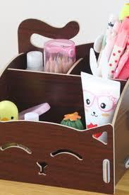 Desk Organizer Box Smily Cat Pattern Diy Multifunctional Wooden Holder For Pencil