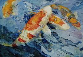 white carp original painting by shen jian wei