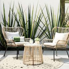 Outdoor Patio Table And Chairs Latigo 3pc All Weather Wicker Outdoor Patio Chat Set