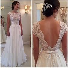 a line round neckline chiffon lace long wedding dresses wedding