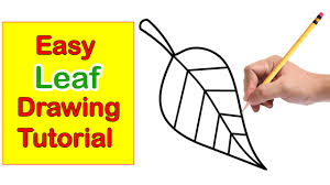 leaf drawing step by step easy tutorial for kids youtube