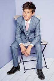 boys light blue suit blue boys suit and waistcoat with white shirt and pink tie from next