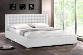 Platform Bed White Bedroom Decorative Modern White Faux Leather Queen King Platform