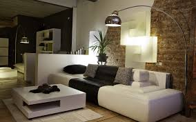 brown stone living room wall combined by white black leather sofa