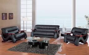 global furniture bonded leather sofa 2033bl modern living room in black leather by global