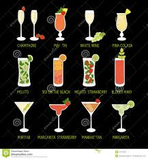 set of cocktails and alcohol drinks in black background stock