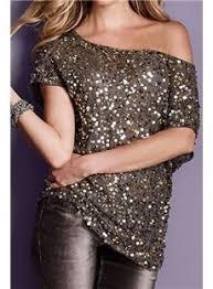 seductive shoulder gray glistening sequin tops stuff tshirts