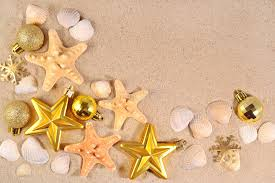 Starfish Decorations Top View Of Christmas Decorations And Seashells And Starfish Stock
