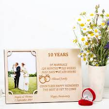10th wedding anniversary 10th wedding anniversary personalised photo frame by wooden