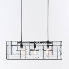 Rectangle Pendant Light Industrial Textured Glass Pendant Rectangle West Elm