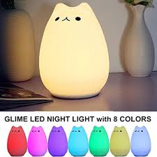 usb cat night light amazon com glime children kids night light led cat silicone toy
