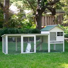 Rabbit Hutch Plastic Boomer U0026 George White Wash Outdoor Rabbit Hutch With Extended Run