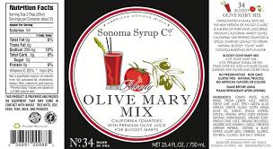 organic bloody mix no 34 olive mix sonoma syrup